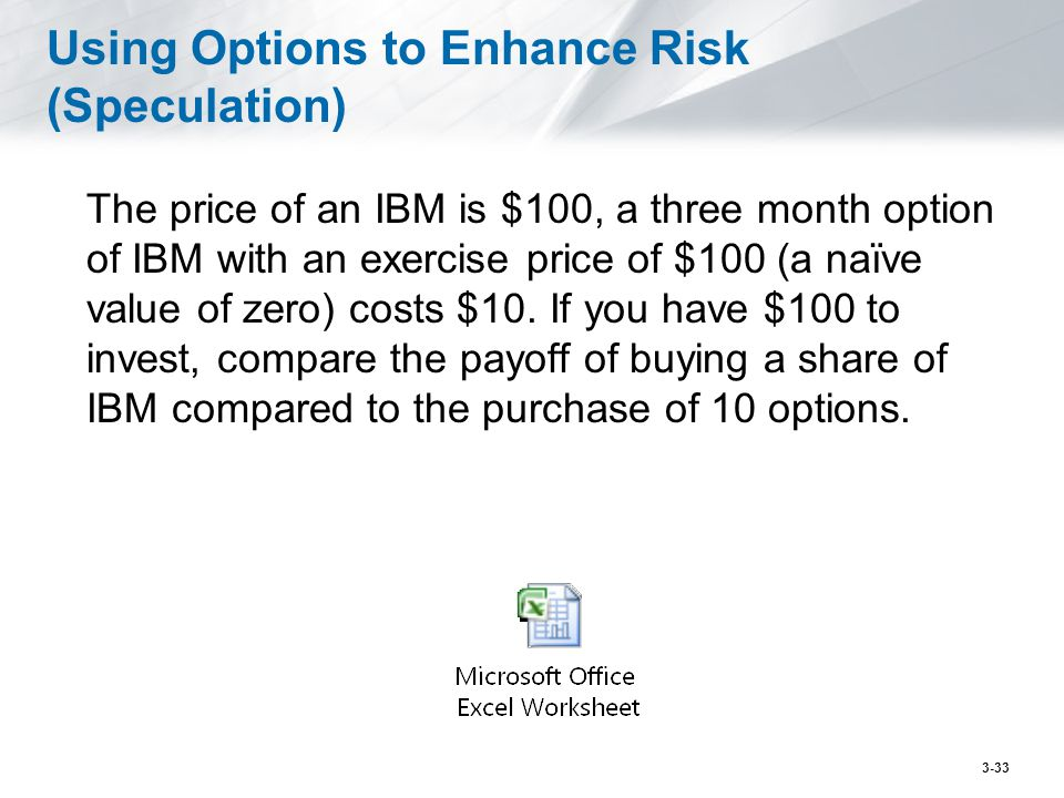 Using Options to Enhance Risk (Speculation) The price of an IBM is $100, a three month option of IBM with an exercise price of $100 (a naïve value of