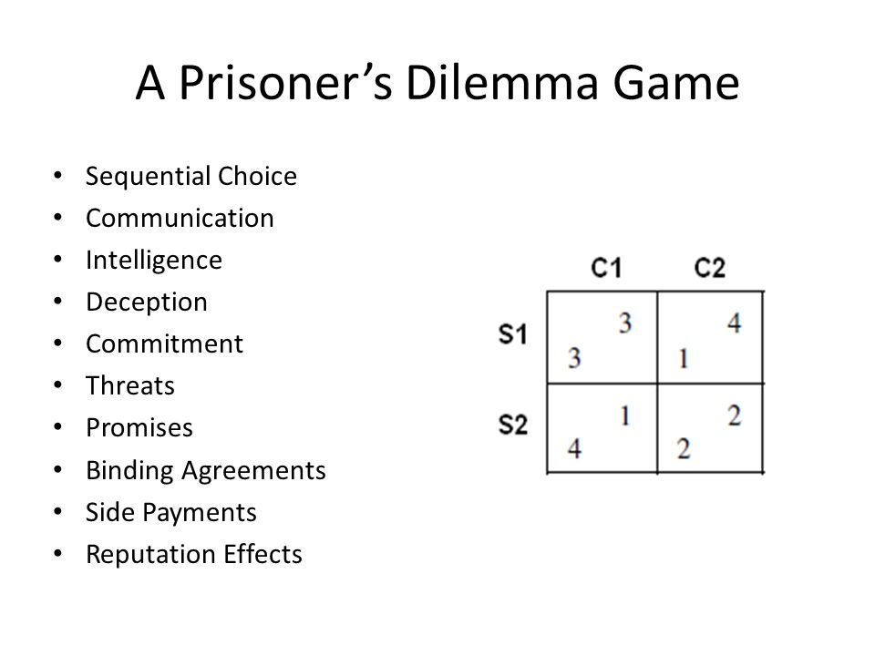 A Prisoner's Dilemma Game Sequential Choice Communication Intelligence Deception Commitment Threats Promises Binding Agreements Side Payments Reputation Effects