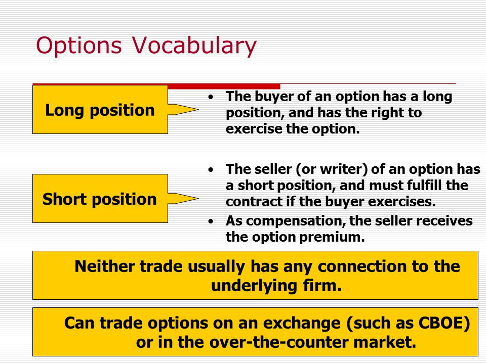 5 Options Vocabulary Neither trade usually has any connection to the underlying firm.