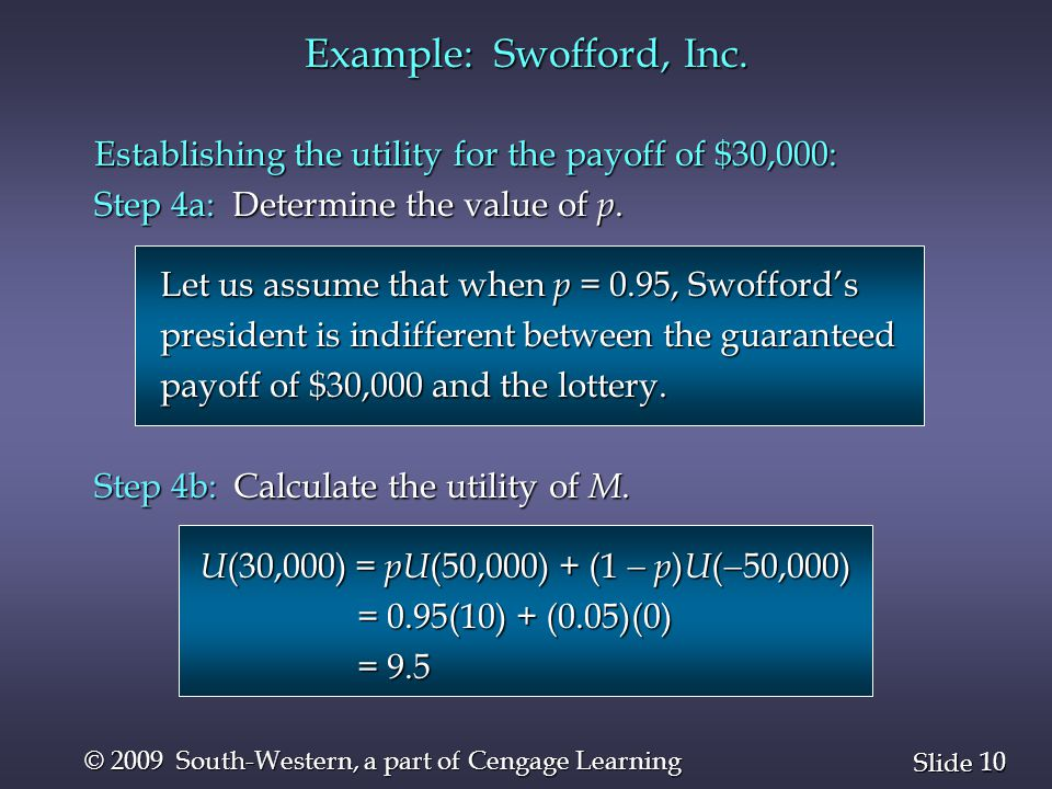 10 Slide © 2009 South-Western, a part of Cengage Learning Establishing the utility for the payoff of $30,000: Step 4a: Determine the value of p.