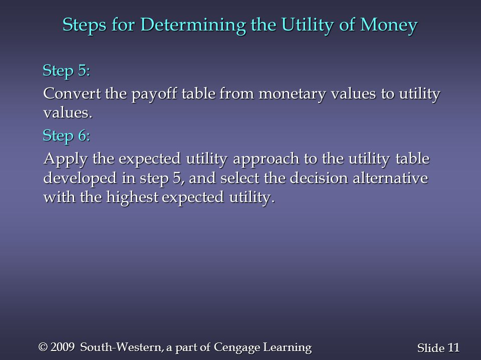 11 Slide © 2009 South-Western, a part of Cengage Learning Steps for Determining the Utility of Money Step 5: Convert the payoff table from monetary values to utility values.