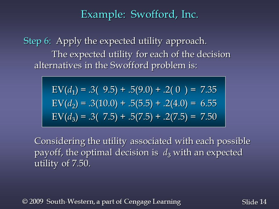 14 Slide © 2009 South-Western, a part of Cengage Learning Step 6: Apply the expected utility approach.