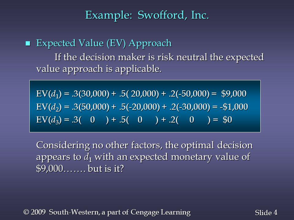 55 Slide © 2009 South-Western, a part of Cengage Learning Dominated Strategies Example b1b1b1b1 b3b3b3b3 Player B Player A a1a1a2a2a1a1a2a2 Player B's Strategy b 2 is dominated by Player B's Strategy b 2 is dominated by Strategy b 1, so Strategy b 2 can be eliminated.