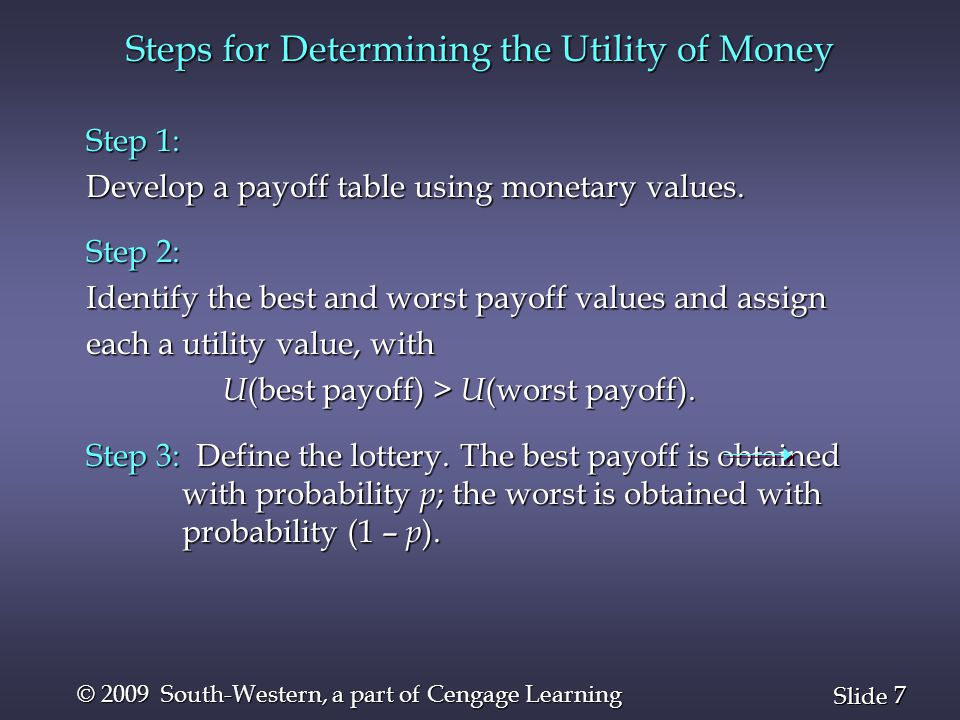 28 Slide © 2009 South-Western, a part of Cengage Learning Utility Example 2 n Expected Utility: Decision Maker II EU( d 1 ) =.5(100) +.3(50) +.2( 0) = 65.0 EU( d 1 ) =.5(100) +.3(50) +.2( 0) = 65.0 EU( d 2 ) =.5( 58) +.3(35) +.2(10) = 41.5 EU( d 2 ) =.5( 58) +.3(35) +.2(10) = 41.5 EU( d 3 ) =.5( 35) +.3(35) +.2(18) = 31.6 EU( d 3 ) =.5( 35) +.3(35) +.2(18) = 31.6 Decision Maker II's optimal decision is d 1.