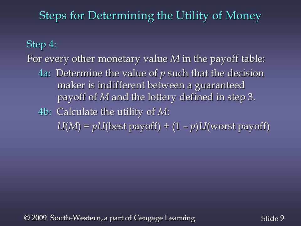 20 Slide © 2009 South-Western, a part of Cengage Learning Utility Example 1 n Decision Makers with Different Utilities Suppose two decision makers have the following utility values: Utility Utility Utility Utility Amount Decision Maker IDecision Maker II Amount Decision Maker IDecision Maker II $100,000 100100 $100,000 100100 $ 50,000 94 58 $ 50,000 94 58 $ 40,000 90 50 $ 40,000 90 50 $ 20,000 80 35 $ 20,000 80 35 -$ 10,000 60 18 -$ 10,000 60 18 -$ 30,000 40 10 -$ 30,000 40 10 -$ 60,000 0 0 -$ 60,000 0 0
