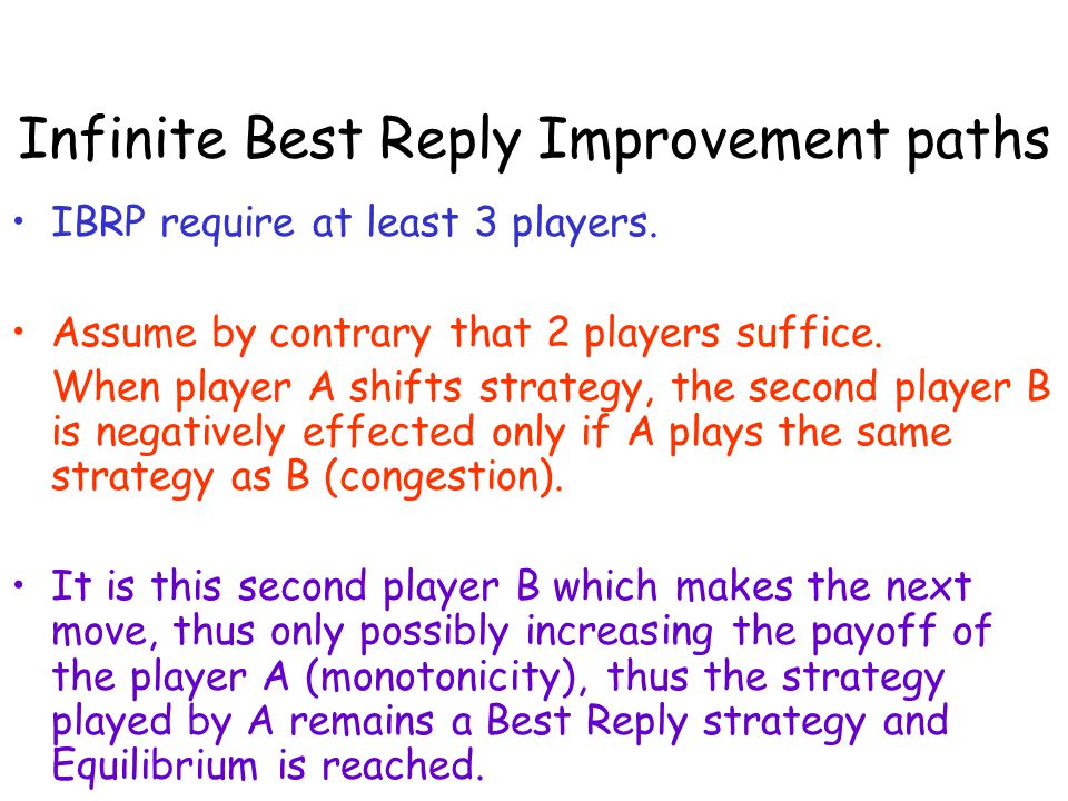 Infinite Best Reply Improvement paths IBRP require at least 3 players. Assume by contrary that 2 players suffice. When player A shifts strategy, the s