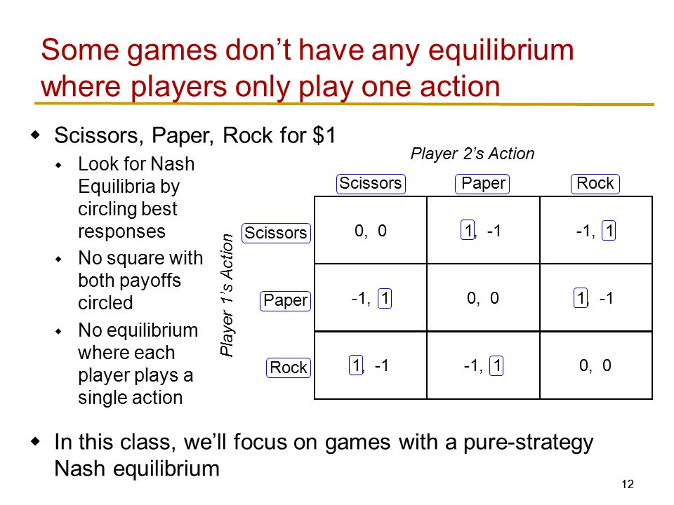 12  Scissors, Paper, Rock for $1  Look for Nash Equilibria by circling best responses  No square with both payoffs circled  No equilibrium where each player plays a single action  In this class, we'll focus on games with a pure-strategy Nash equilibrium Some games don't have any equilibrium where players only play one action 0, 01, -1 -1, 10, 0 ScissorsPaper Scissors Paper Player 2's Action Player 1's Action -1, 1 1, -1 Rock 1, -1-1, 1 Rock 0, 0
