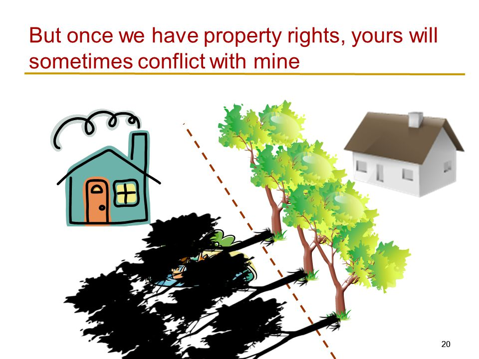 20 But once we have property rights, yours will sometimes conflict with mine