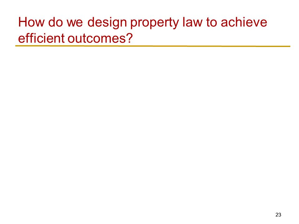 23 How do we design property law to achieve efficient outcomes?