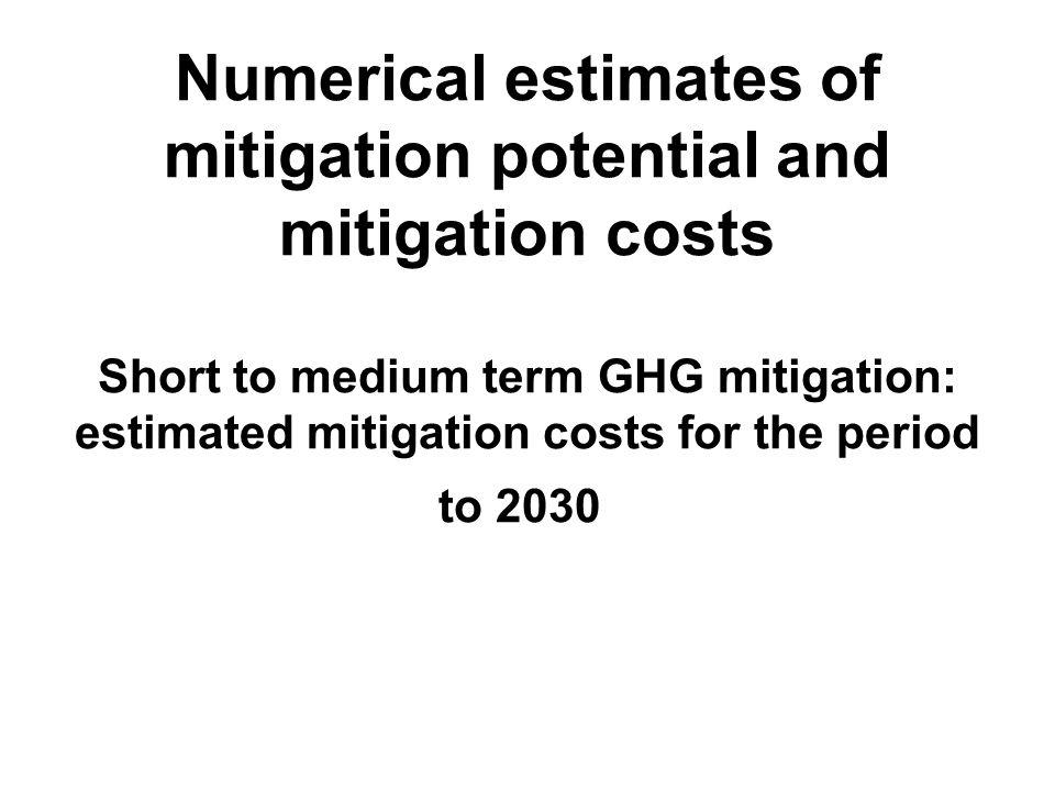 Numerical estimates of mitigation potential and mitigation costs Short to medium term GHG mitigation: estimated mitigation costs for the period to 203