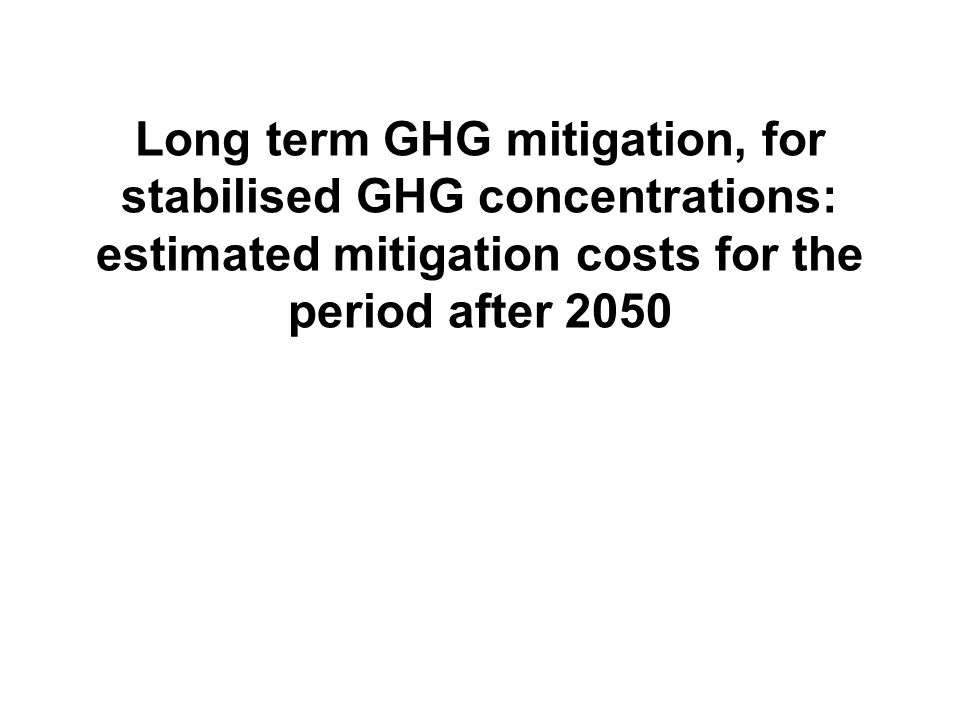 Long term GHG mitigation, for stabilised GHG concentrations: estimated mitigation costs for the period after 2050