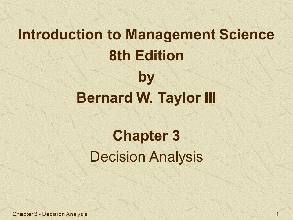 Chapter 3 - Decision Analysis 2 Components of Decision Making Decision Making without Probabilities Decision Making with Probabilities Decision Analysis with Additional Information Utility Chapter Topics