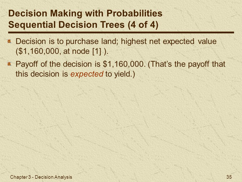 Chapter 3 - Decision Analysis 35 Decision Making with Probabilities Sequential Decision Trees (4 of 4) Decision is to purchase land; highest net expec