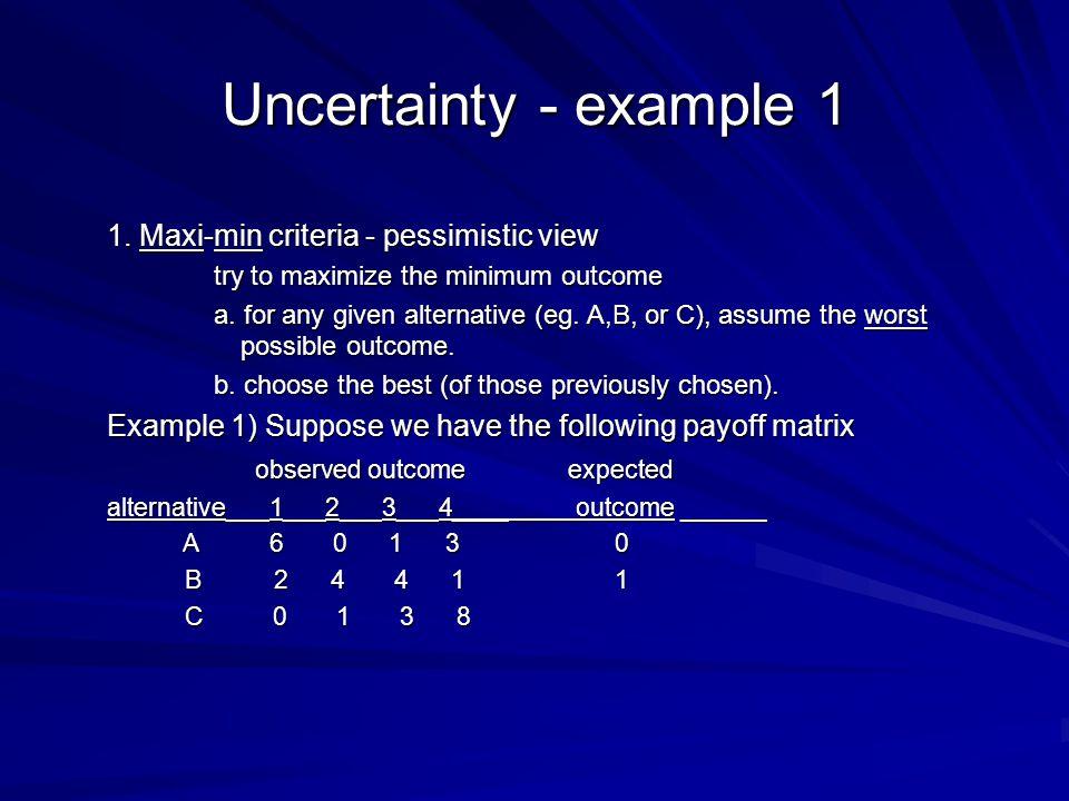 Uncertainty - example 1 1.