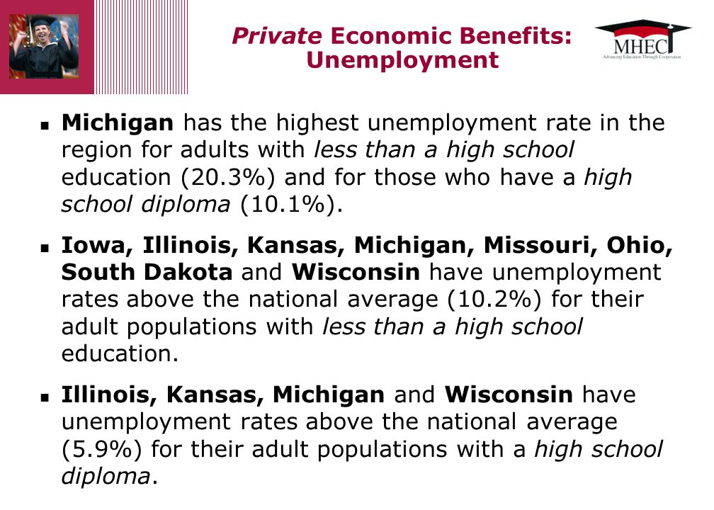 Continued… Indiana, Michigan, Minnesota and Ohio have an unemployment rate above the national average (4.8%) for their adult populations with some college.