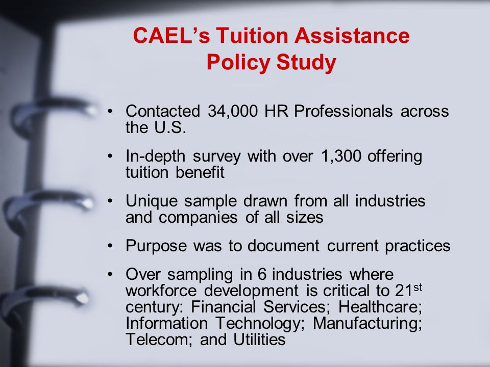 CAEL's Tuition Assistance Policy Study Contacted 34,000 HR Professionals across the U.S.