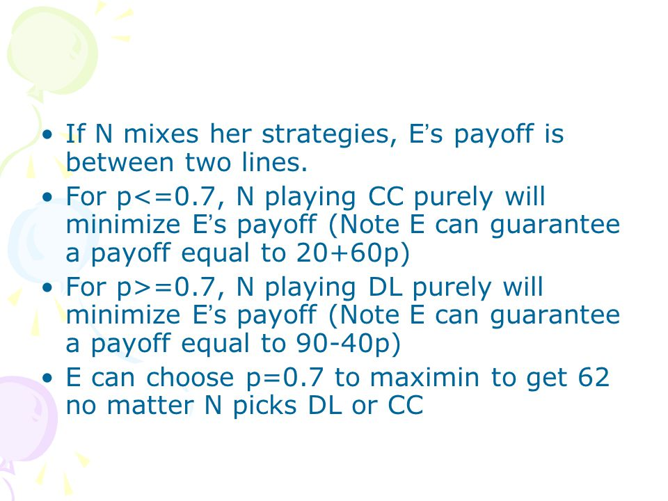 If N mixes her strategies, E ' s payoff is between two lines.