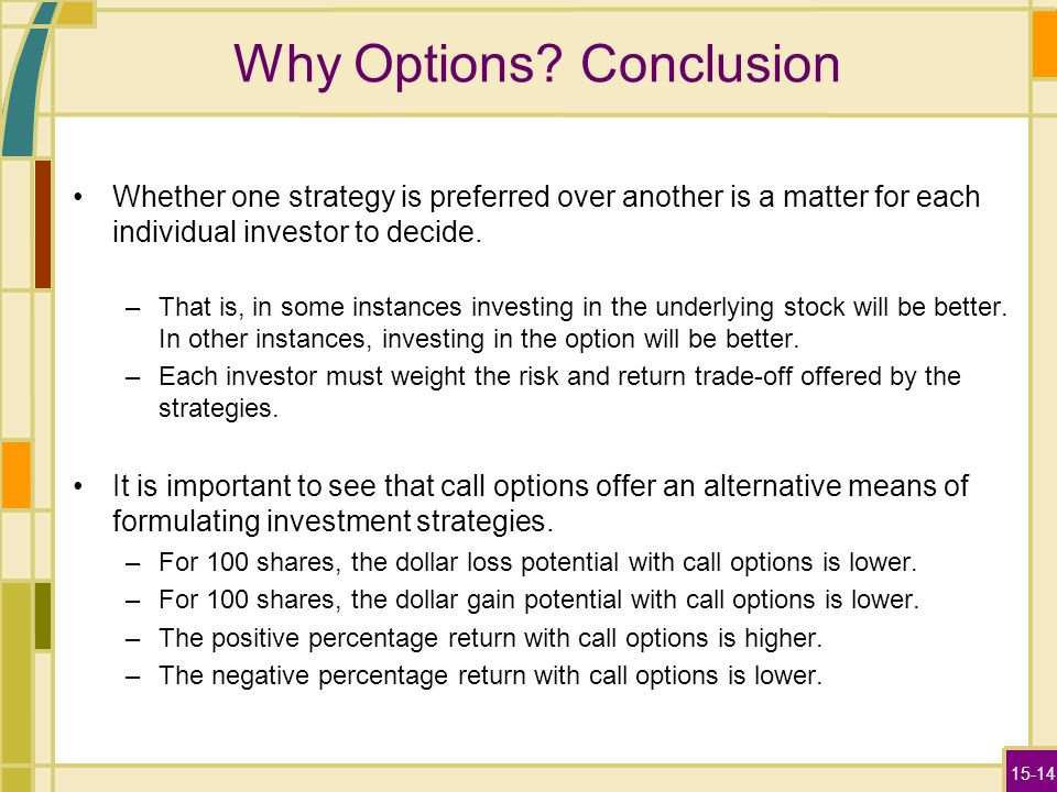 15-14 Why Options? Conclusion Whether one strategy is preferred over another is a matter for each individual investor to decide. –That is, in some ins