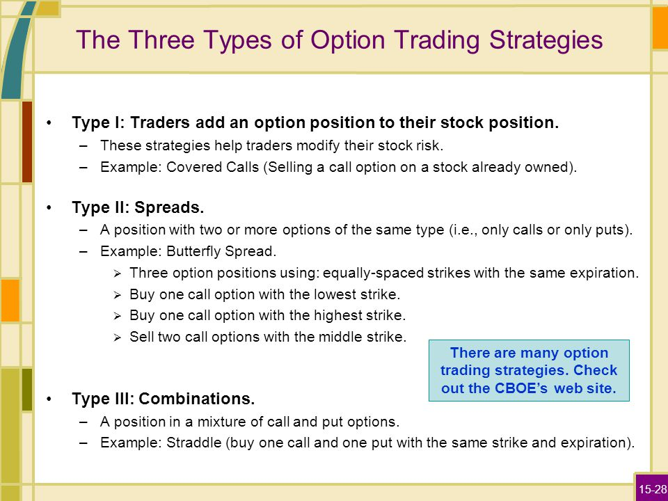 15-28 The Three Types of Option Trading Strategies Type I: Traders add an option position to their stock position. –These strategies help traders modi
