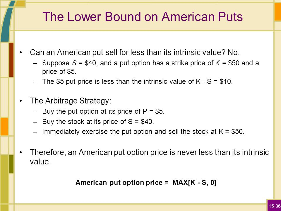 15-36 The Lower Bound on American Puts Can an American put sell for less than its intrinsic value.