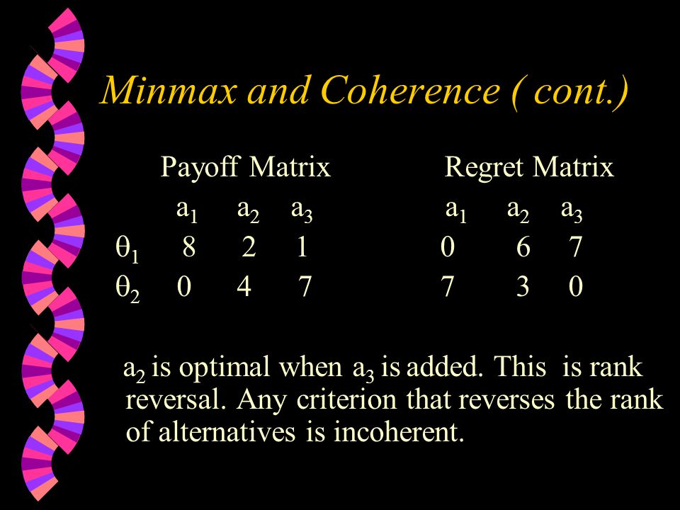 Minmax and Coherence ( cont.) Payoff Matrix Regret Matrix a 1 a 2 a 3 a 1 a 2 a 3  1 8 2 1 0 6 7  2 0 4 7 7 3 0 a 2 is optimal when a 3 is added.