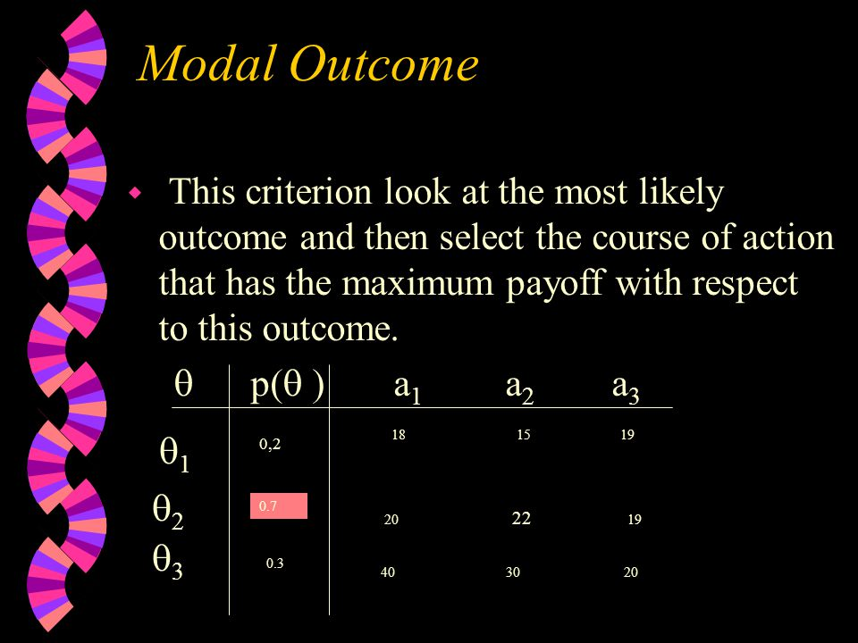Modal Outcome w This criterion look at the most likely outcome and then select the course of action that has the maximum payoff with respect to this outcome.