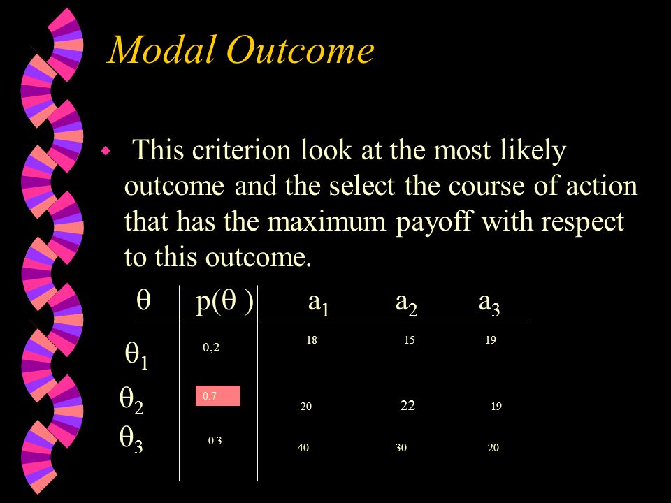 Modal Outcome w This criterion look at the most likely outcome and the select the course of action that has the maximum payoff with respect to this outcome.