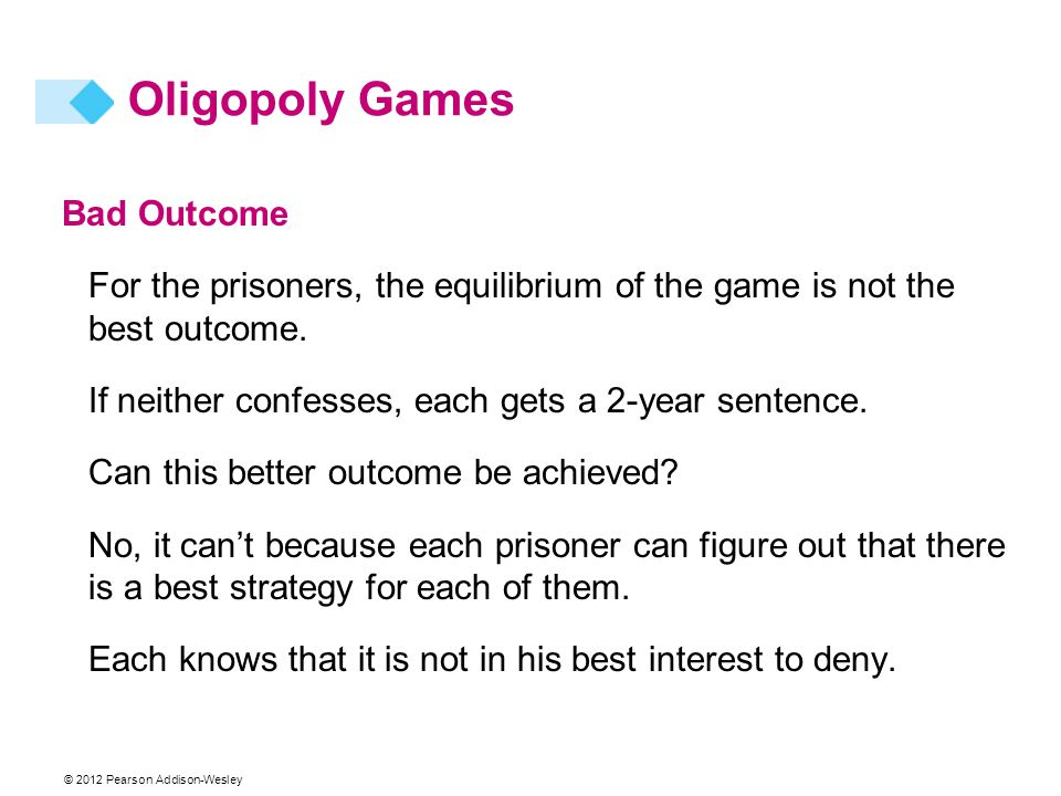 © 2012 Pearson Addison-Wesley Oligopoly Games Bad Outcome For the prisoners, the equilibrium of the game is not the best outcome. If neither confesses