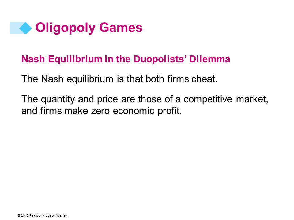 © 2012 Pearson Addison-Wesley Nash Equilibrium in the Duopolists' Dilemma The Nash equilibrium is that both firms cheat. The quantity and price are th