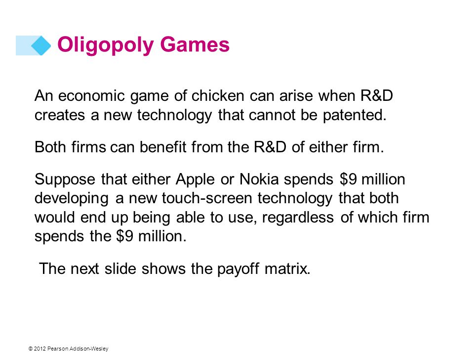 © 2012 Pearson Addison-Wesley An economic game of chicken can arise when R&D creates a new technology that cannot be patented. Both firms can benefit
