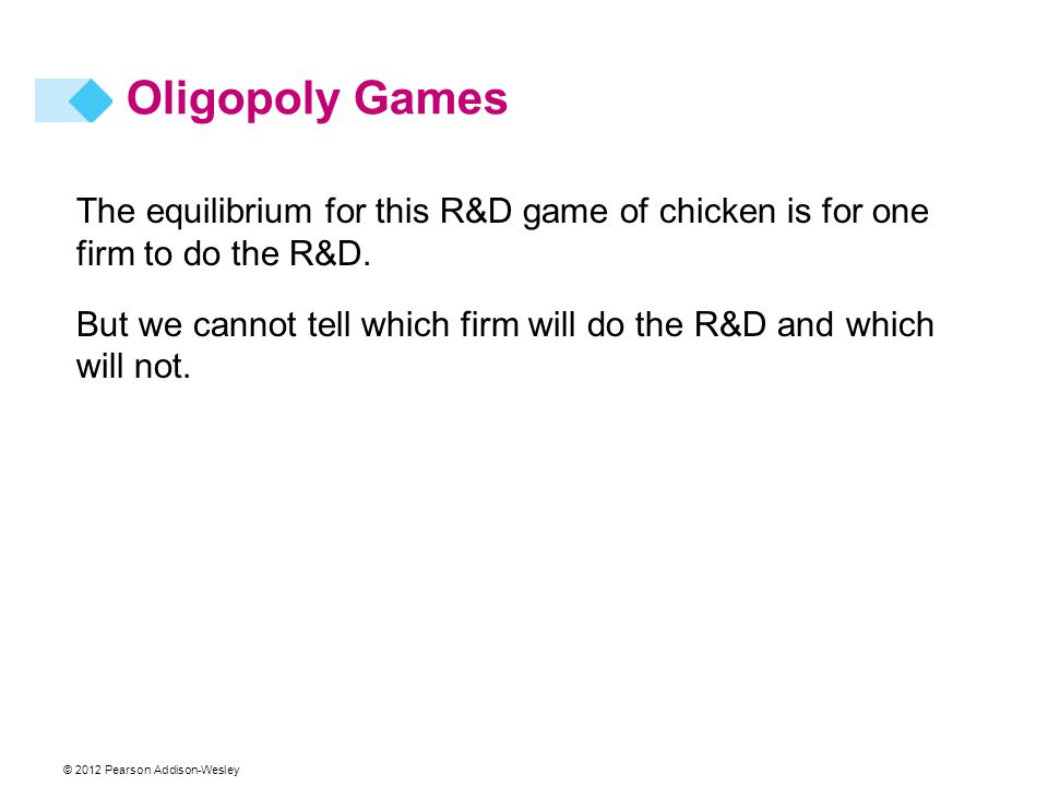 © 2012 Pearson Addison-Wesley Oligopoly Games The equilibrium for this R&D game of chicken is for one firm to do the R&D. But we cannot tell which fir
