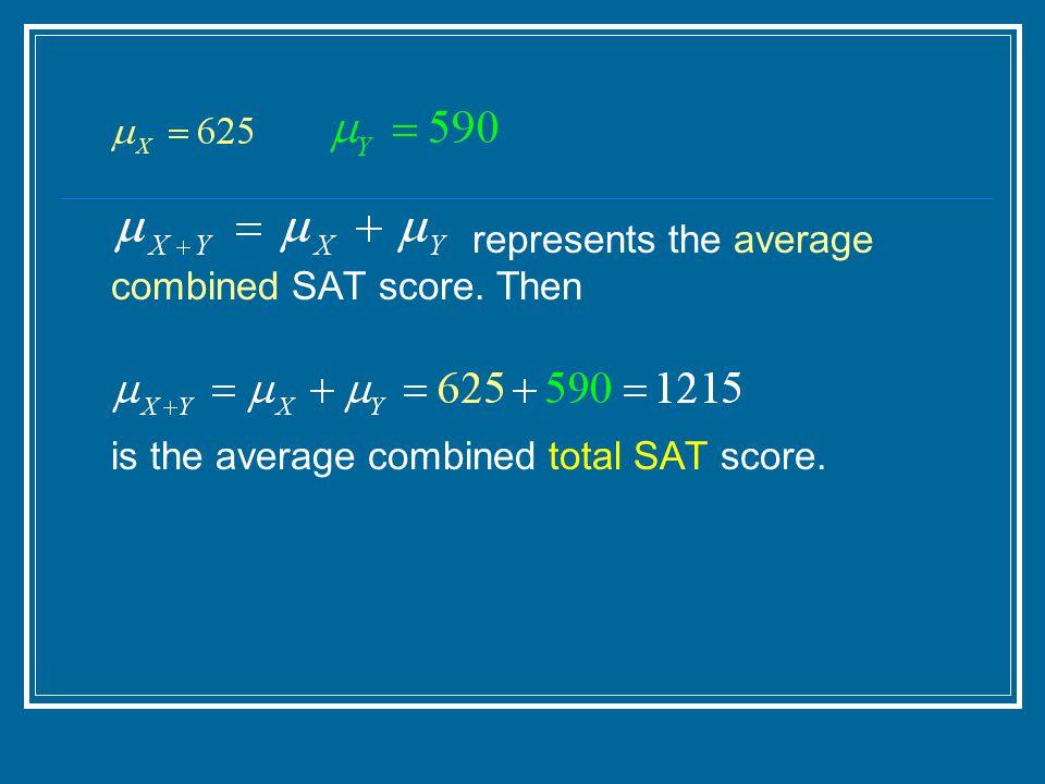 represents the average combined SAT score. Then is the average combined total SAT score.