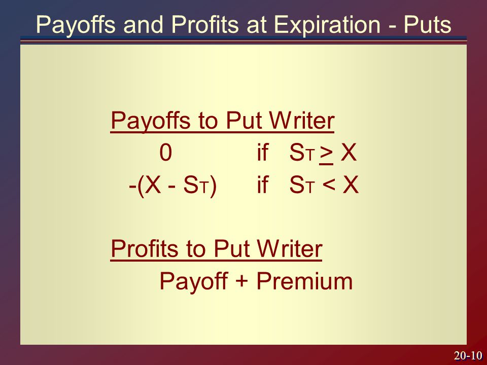 20-10 Payoffs to Put Writer 0if S T > X -(X - S T )if S T < X Profits to Put Writer Payoff + Premium Payoffs and Profits at Expiration - Puts