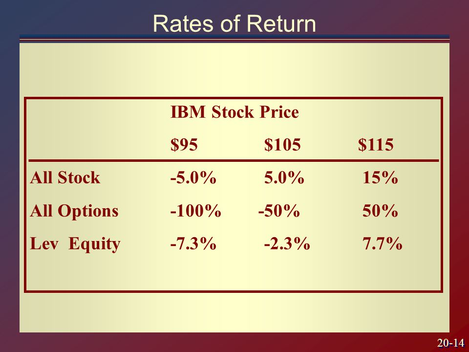 20-14 IBM Stock Price $95$105$115 All Stock-5.0%5.0% 15% All Options-100% -50% 50% Lev Equity -7.3%-2.3% 7.7% Rates of Return