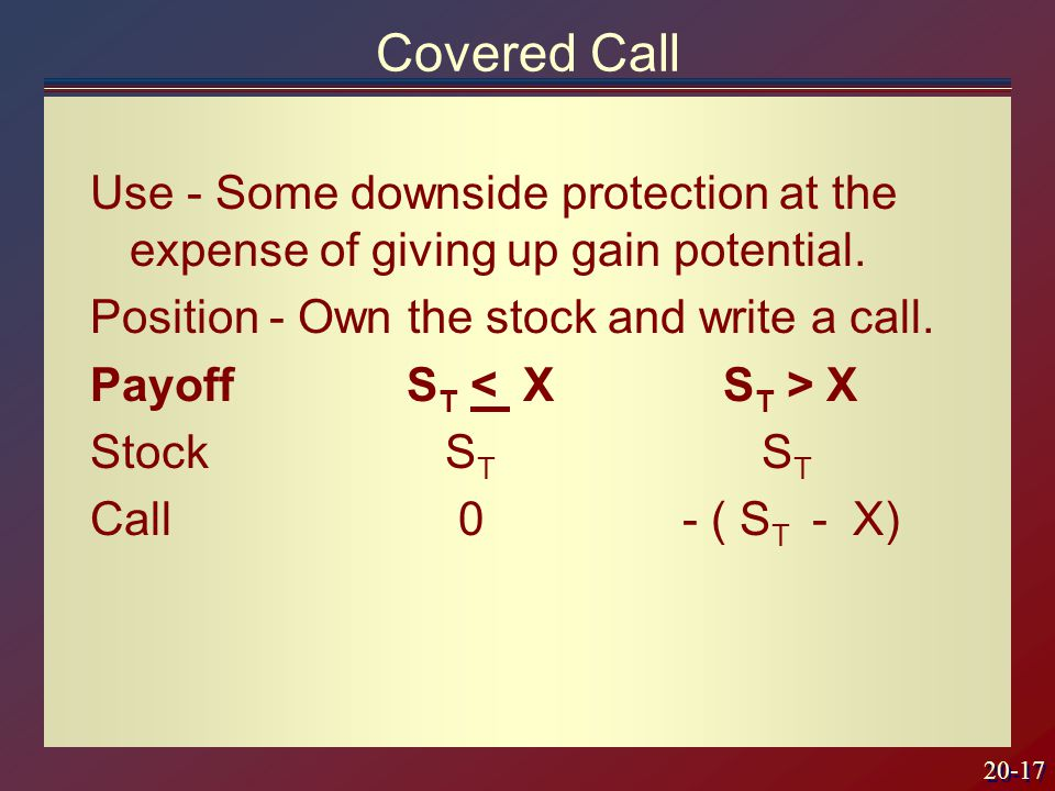 20-17 Covered Call Use - Some downside protection at the expense of giving up gain potential.