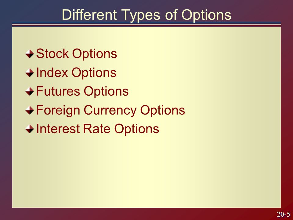 20-5 Stock Options Index Options Futures Options Foreign Currency Options Interest Rate Options Different Types of Options