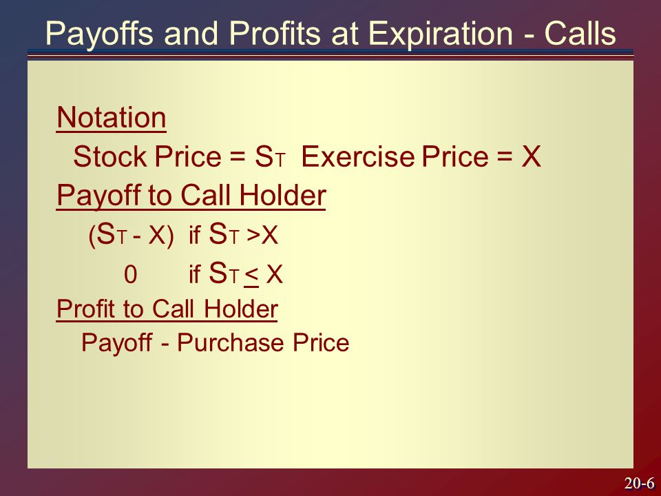 20-7 Payoff to Call Writer - ( S T - X) if S T >X 0if S T < X Profit to Call Writer Payoff + Premium Payoffs and Profits at Expiration - Calls