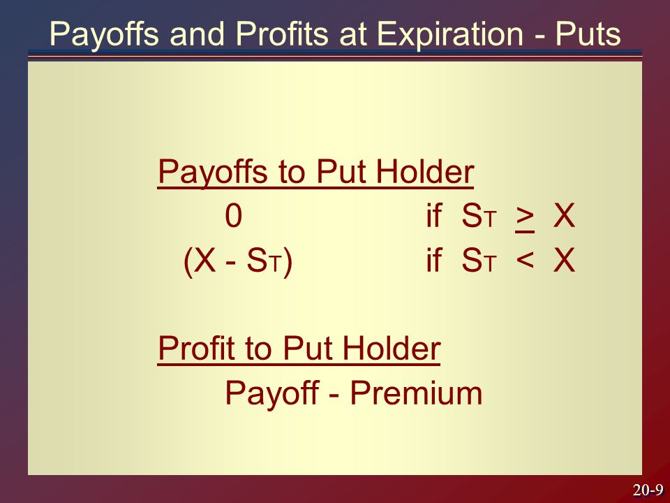 20-9 Payoffs to Put Holder 0if S T > X (X - S T ) if S T < X Profit to Put Holder Payoff - Premium Payoffs and Profits at Expiration - Puts