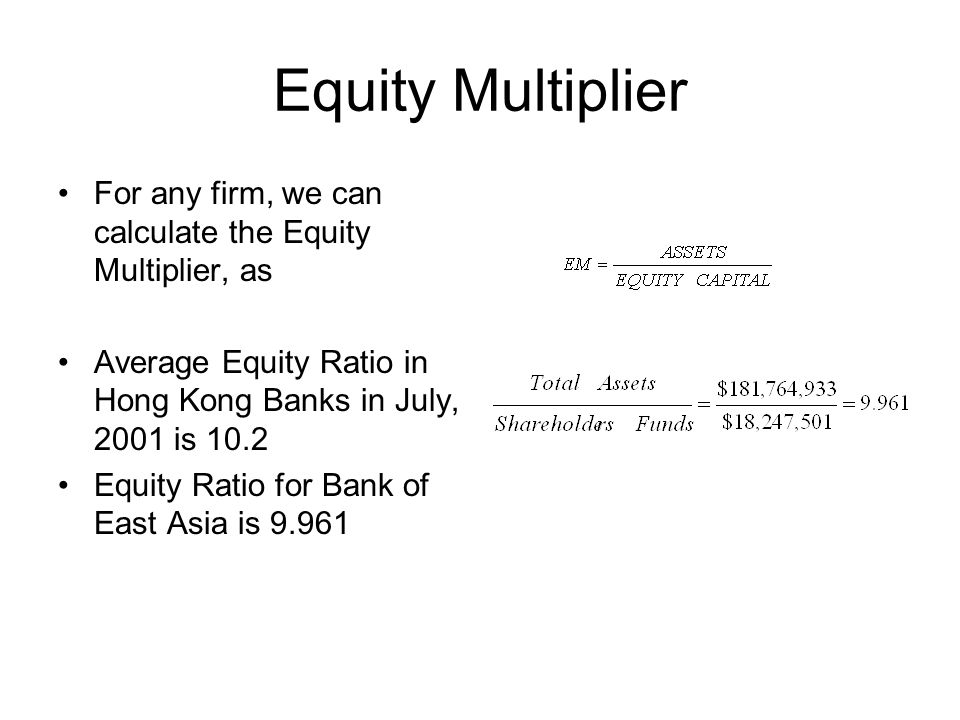 Equity Multiplier For any firm, we can calculate the Equity Multiplier, as Average Equity Ratio in Hong Kong Banks in July, 2001 is 10.2 Equity Ratio
