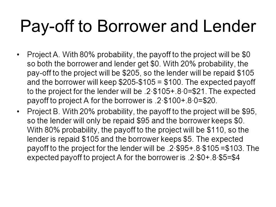Pay-off to Borrower and Lender Project A. With 80% probability, the payoff to the project will be $0 so both the borrower and lender get $0. With 20%