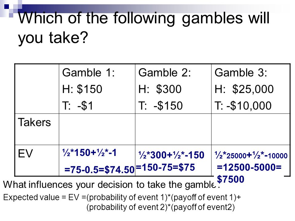 Which of the following gambles will you take? Gamble 1: H: $150 T: -$1 Gamble 2: H: $300 T: -$150 Gamble 3: H: $25,000 T: -$10,000 Takers EV Expected