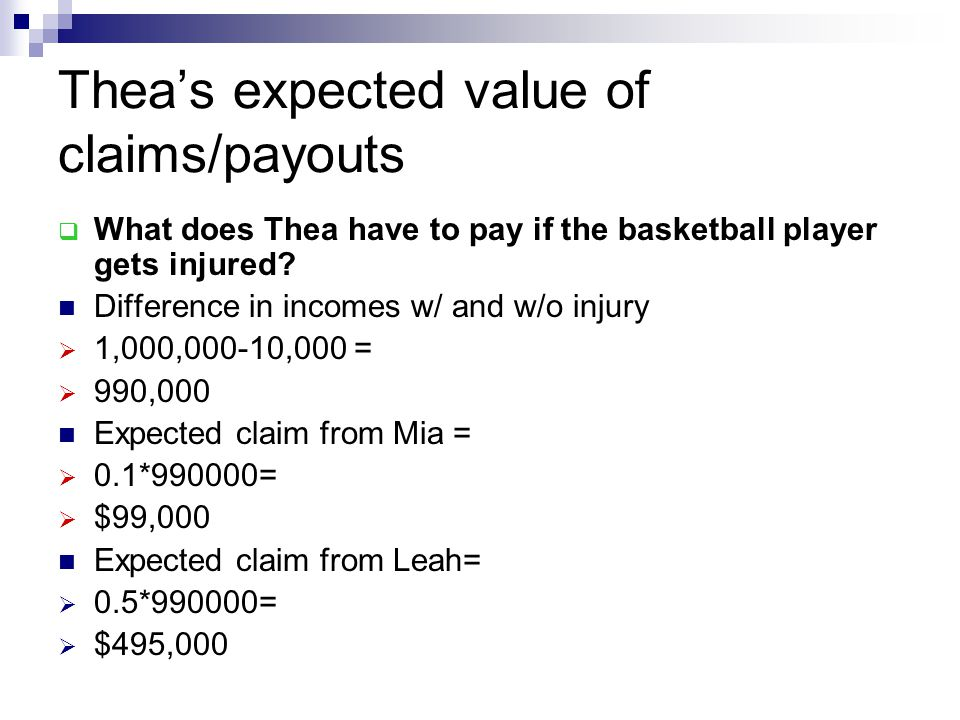 Thea's expected value of claims/payouts  What does Thea have to pay if the basketball player gets injured? Difference in incomes w/ and w/o injury 