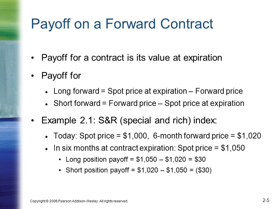 Copyright © 2006 Pearson Addison-Wesley. All rights reserved. 2-5 Payoff on a Forward Contract Payoff for a contract is its value at expiration Payoff