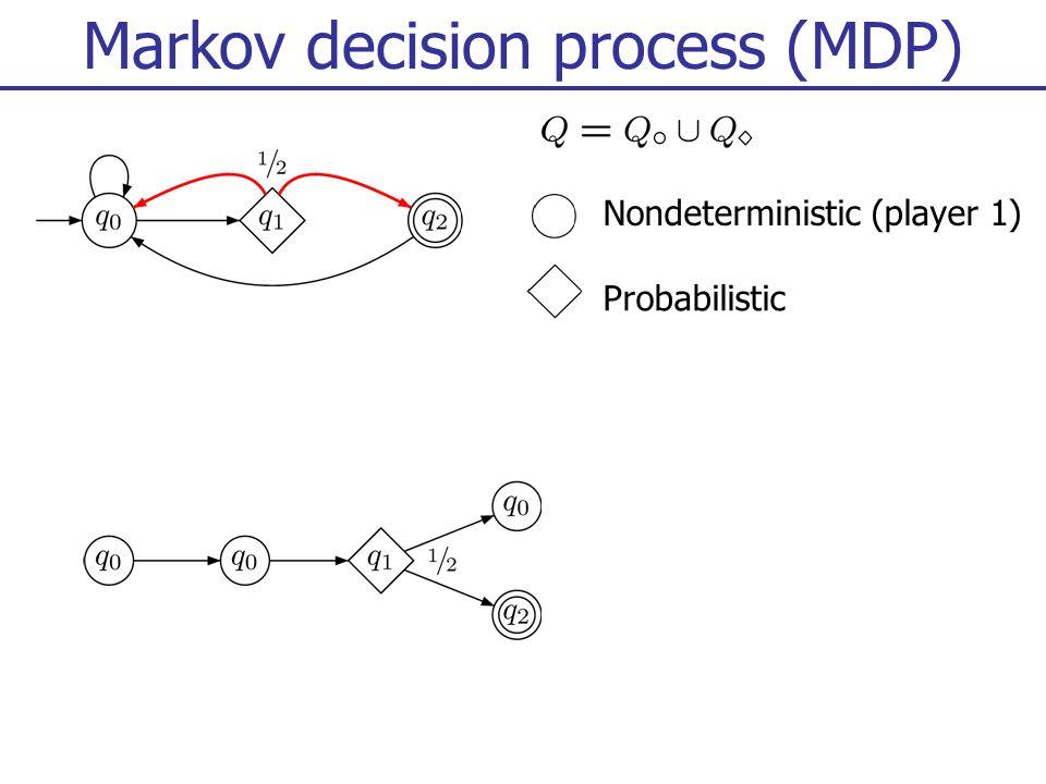 Markov decision process (MDP) Nondeterministic (player 1) Probabilistic