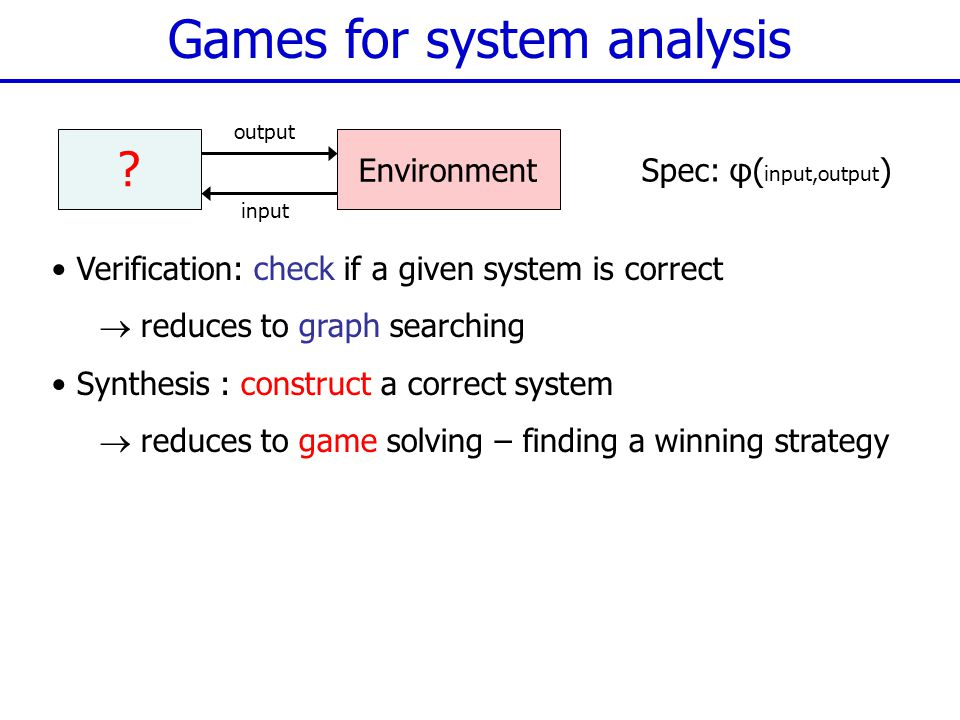 Games for system analysis .