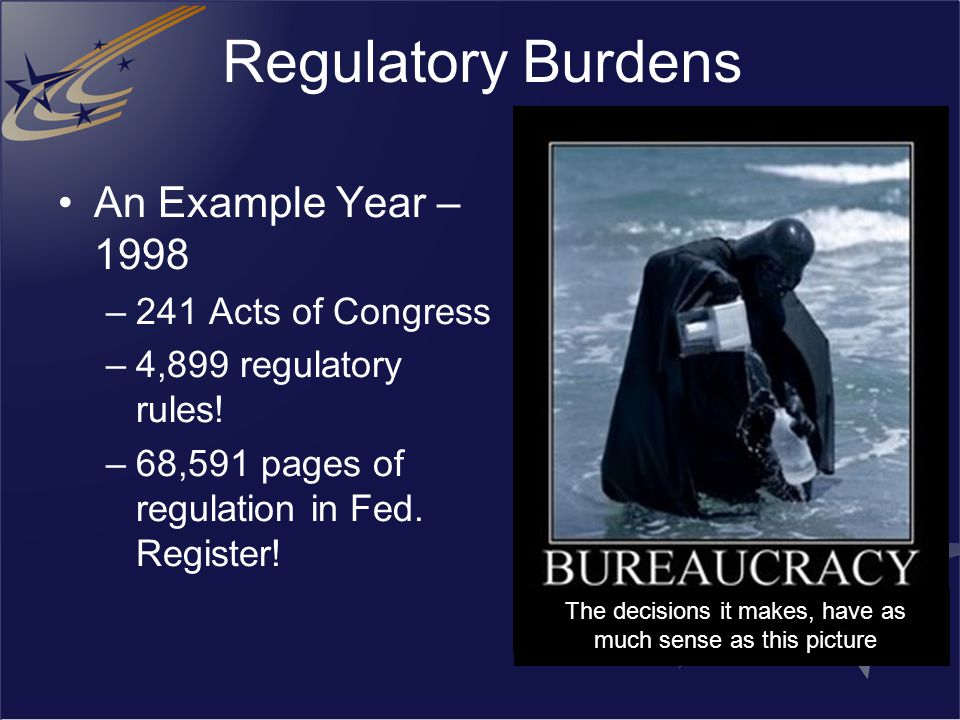 Regulatory Burdens An Example Year – 1998 –241 Acts of Congress –4,899 regulatory rules! –68,591 pages of regulation in Fed. Register! The decisions i