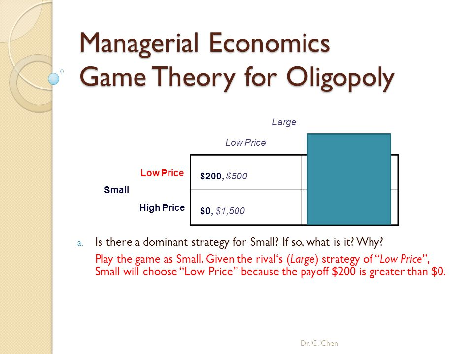 Managerial Economics Game Theory for Oligopoly Dr. C. Chen Large Low PriceHigh Price Small Low Price $200, $500 $600, $600 High Price $0, $1,500 $400,