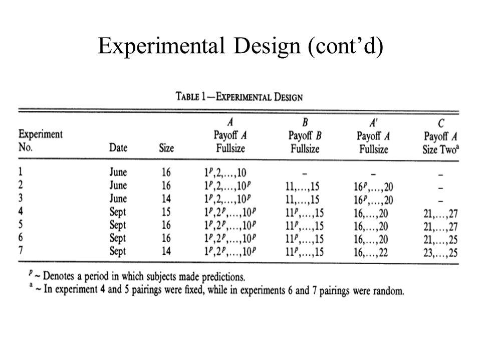 Experimental Design (cont'd)