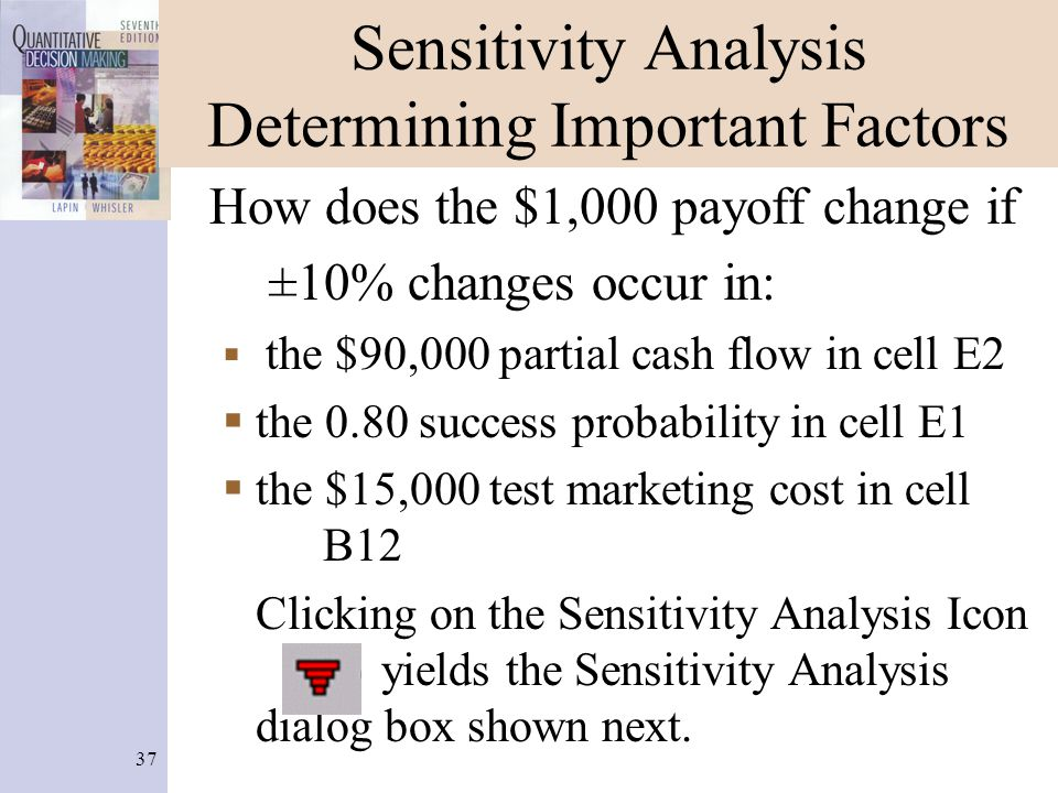 37 Sensitivity Analysis Determining Important Factors How does the $1,000 payoff change if ±10% changes occur in:  the $90,000 partial cash flow in c