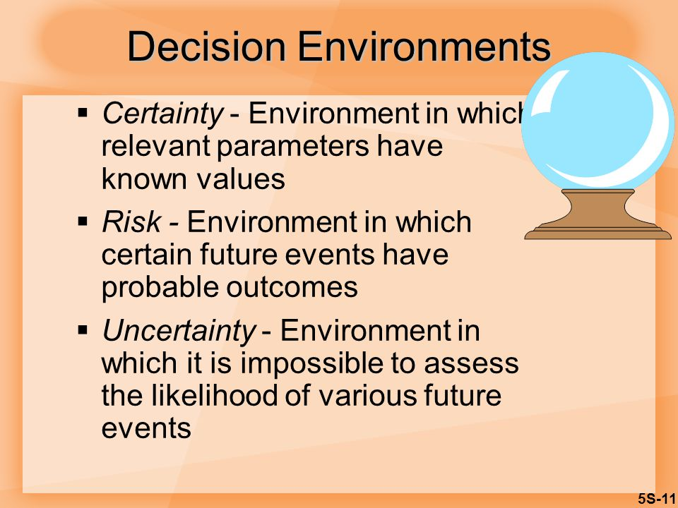 5S-11  Certainty - Environment in which relevant parameters have known values  Risk - Environment in which certain future events have probable outcomes  Uncertainty - Environment in which it is impossible to assess the likelihood of various future events Decision Environments